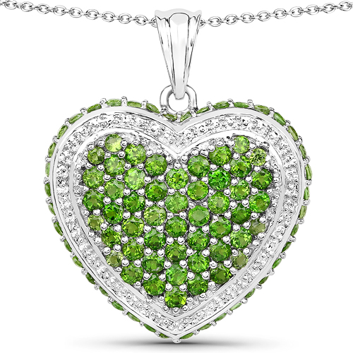 Pendants-4.62 Carat Genuine Chrome Diopside .925 Sterling Silver Pendant