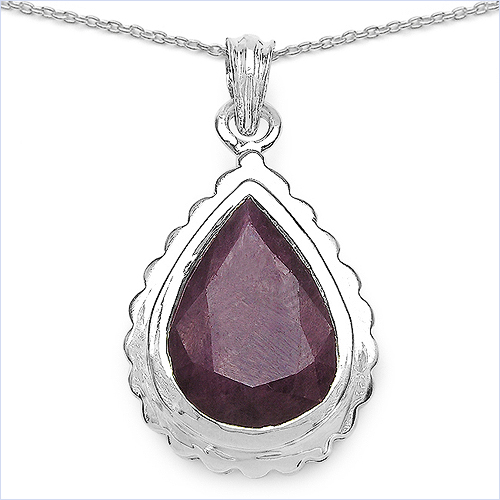 Ruby-14.10 Carat Genuine Ruby .925 Sterling Silver Pendant