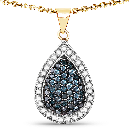 Diamond-14K Yellow Gold Plated 0.81 Carat Genuine Blue Diamond and White Diamond .925 Sterling Silver Pendant