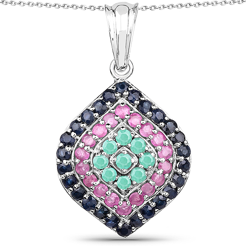 Emerald-2.25 Carat Genuine Emerald, Ruby & Blue Sapphire .925 Sterling Silver Pendant