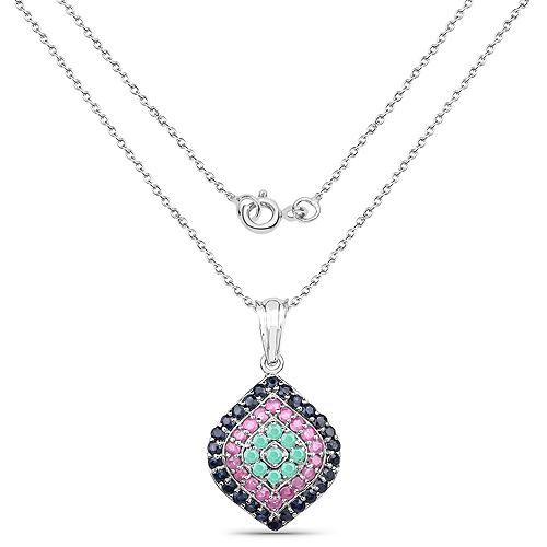 2.25 Carat Genuine Emerald, Ruby & Blue Sapphire .925 Sterling Silver Pendant