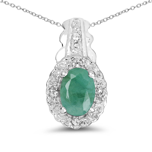 Emerald-0.68 Carat Genuine Emerald & White Topaz .925 Sterling Silver Pendant