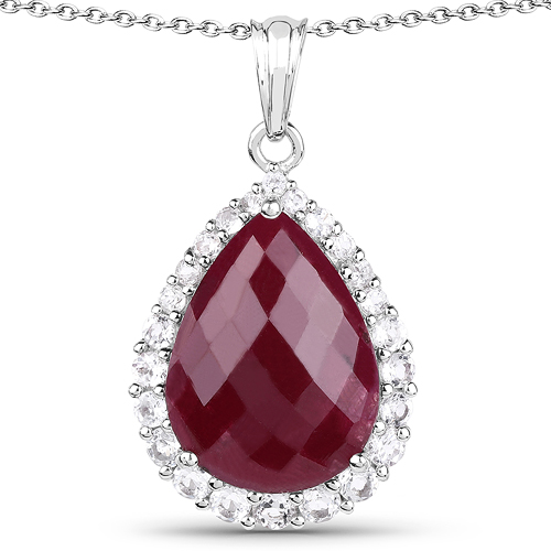 Ruby-18.46 Carat Dyed Ruby and White Topaz .925 Sterling Silver Pendant