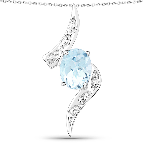 Pendants-2.03 Carat Genuine Blue Topaz and White Topaz .925 Sterling Silver Pendant