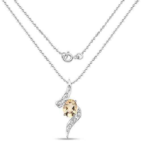 1.72 Carat Genuine Citrine and White Diamond .925 Sterling Silver Pendant