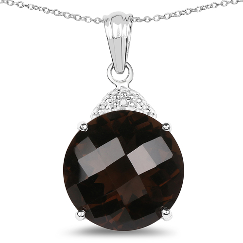 Pendants-18.31 Carat Genuine Smoky Quartz & White Diamond .925 Sterling Silver Pendant