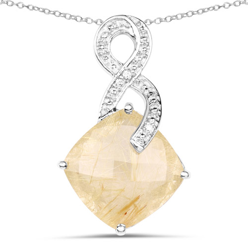 Pendants-8.81 Carat Genuine Golden Rutile and White Diamond .925 Sterling Silver Pendant