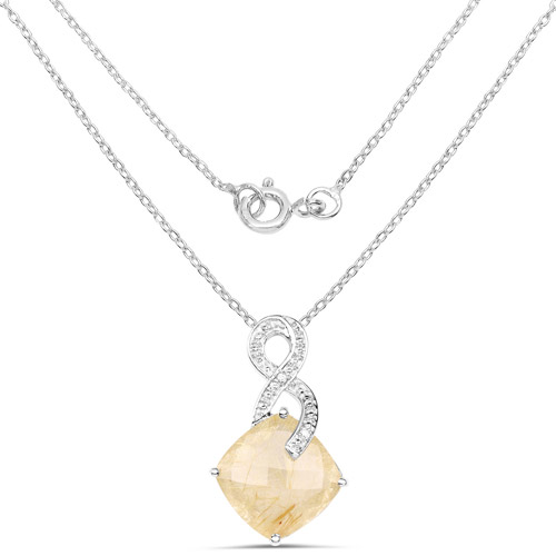8.81 Carat Genuine Golden Rutile and White Diamond .925 Sterling Silver Pendant