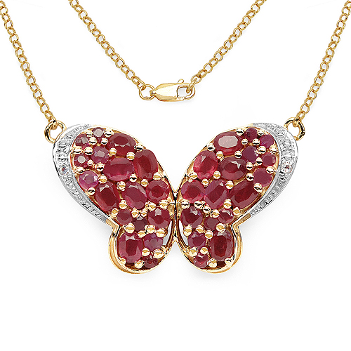 Ruby-14K Yellow Gold Plated 4.59 Carat Genuine Ruby & White Topaz .925 Streling Silver Pendant
