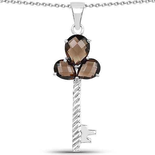 Pendants-4.45 Carat Genuine Smoky Quartz .925 Sterling Silver Pendant