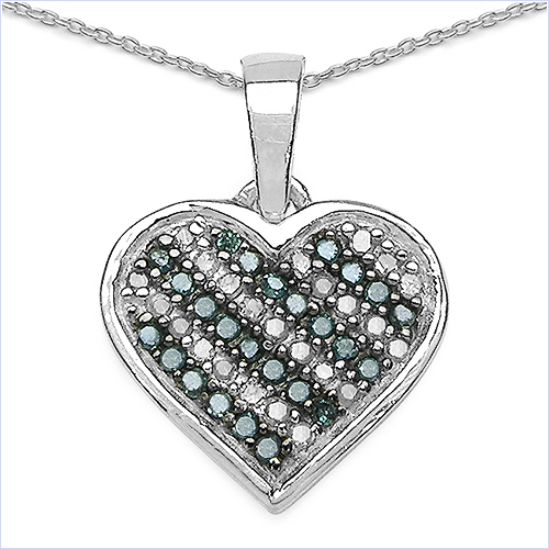 Diamond-0.25 Carat Genuine Blue Diamond & White Diamond .925 Sterling Silver Pendant