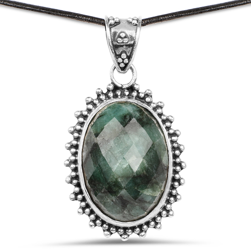 Emerald-30.15 Carat Genuine Emerald .925 Sterling Silver Pendant