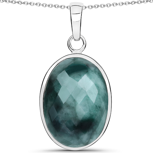 Emerald-25.10 Carat Genuine Emerald .925 Sterling Silver Pendant