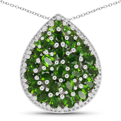 Pendants-4.65 Carat Genuine Chrome Diopside .925 Sterling Silver Pendant
