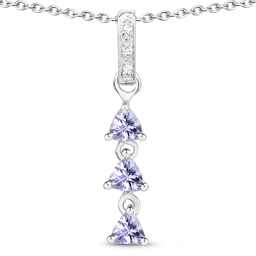 Tanzanite-0.71 Carat Genuine Tanzanite and White Topaz .925 Sterling Silver Pendant
