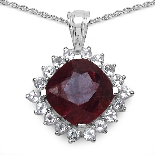 Ruby-8.69 Carat Genuine Ruby & White Topaz .925 Sterling Silver Pendant