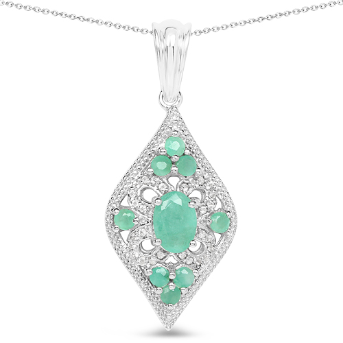 Emerald-1.23 Carat Genuine Emerald & White Topaz .925 Sterling Silver Pendant
