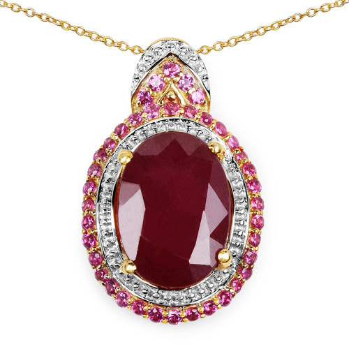 Ruby-14K Yellow Gold Plated 8.87 Carat Glass Filled Ruby and Ruby .925 Sterling Silver Pendant
