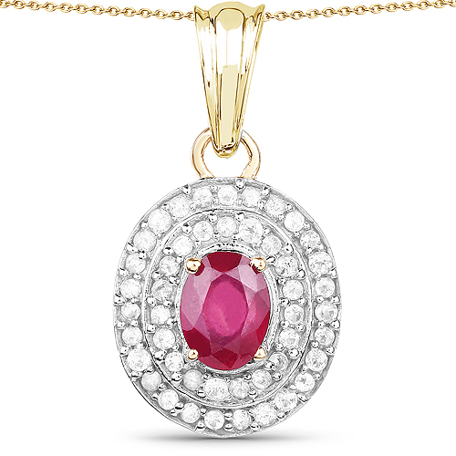 Ruby-14K Yellow Gold Plated 2.52 Carat Glass Filled Ruby and White Topaz .925 Sterling Silver Pendant