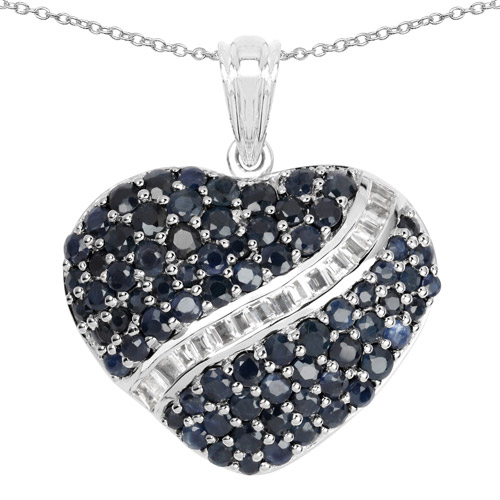 Sapphire-4.60 Carat Genuine Blue Sapphire and White Topaz .925 Sterling Silver Pendant
