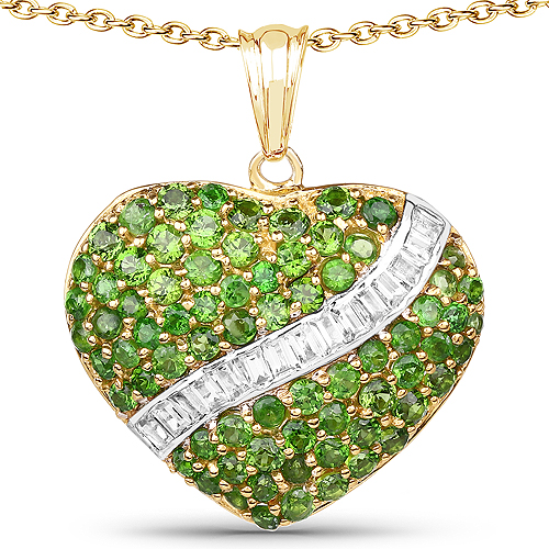 Pendants-14K Yellow Gold Plated 4.51 Carat Genuine Chrome Diopside and White Topaz .925 Sterling Silver Pendant