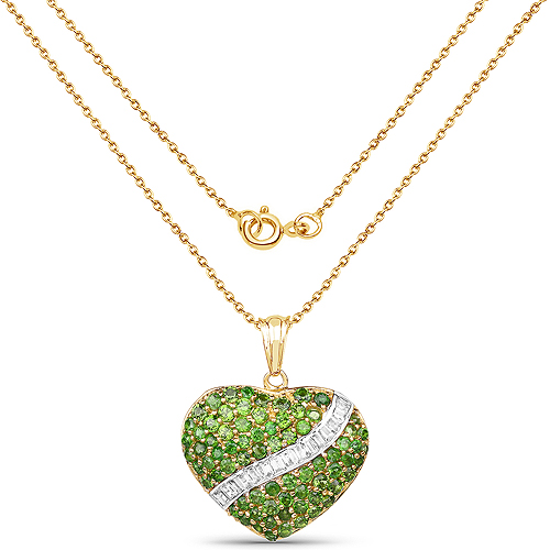 14K Yellow Gold Plated 4.51 Carat Genuine Chrome Diopside and White Topaz .925 Sterling Silver Pendant
