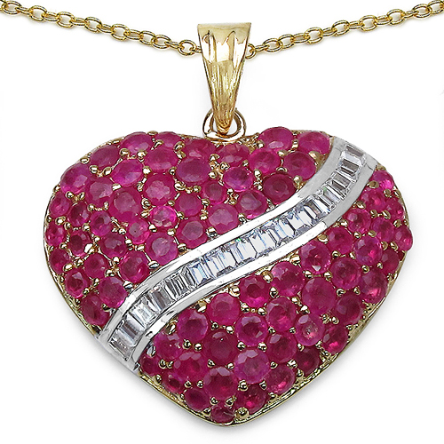 Ruby-14K Yellow Gold Plated 4.67 Carat Genuine Ruby & White Topaz .925 Sterling Silver Pendant