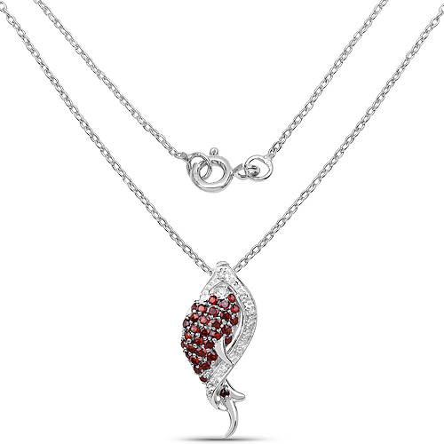 0.99 Carat Genuine Garnet and White Topaz .925 Sterling Silver Pendant