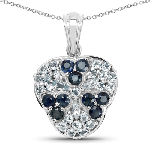 Sapphire-2.73 Carat Genuine Blue Sapphire and Aquamarine .925 Sterling Silver Pendant