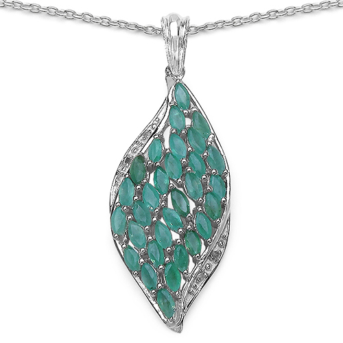 Emerald-2.12 Carat Genuine Emerald & White Topaz .925 Sterling Silver Pendant