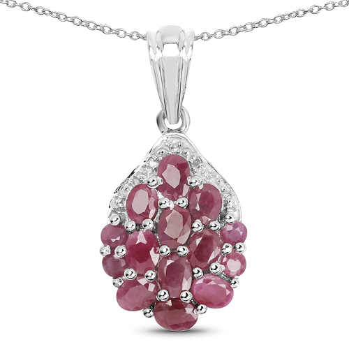 Ruby-2.54 Carat Genuine Ruby & White Diamond .925 Sterling Silver Pendant