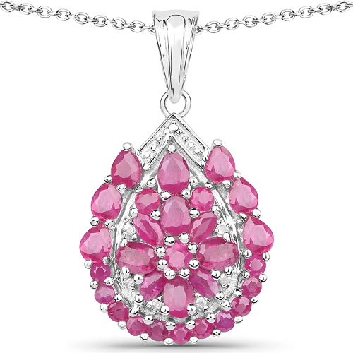 Ruby-3.50 Carat Genuine Ruby and White Topaz .925 Sterling Silver Pendant