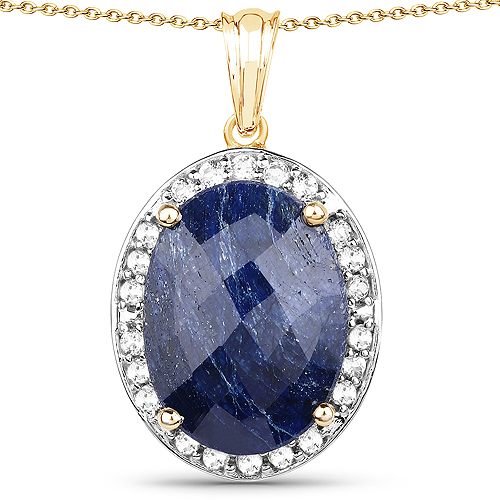 Sapphire-14K Yellow Gold Plated 20.88 Carat Dyed Sapphire and White Topaz .925 Sterling Silver Pendant