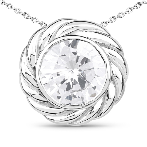 Pendants-6.21 Carat Genuine White Cubic Zirconia .925 Sterling Silver Pendant