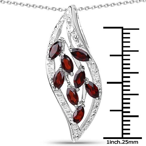 1.60 Carat Genuine Garnet .925 Sterling Silver Pendant