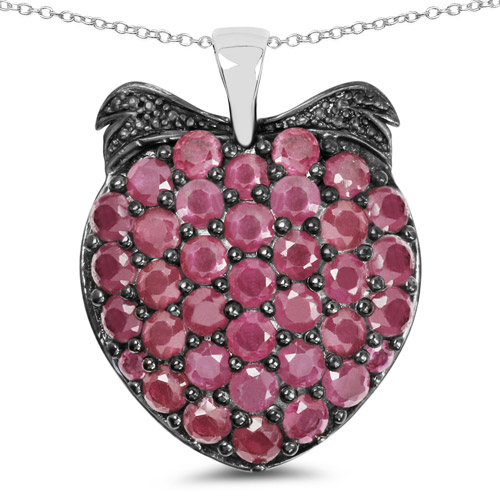Ruby-4.51 Carat Genuine Ruby .925 Sterling Silver Pendant