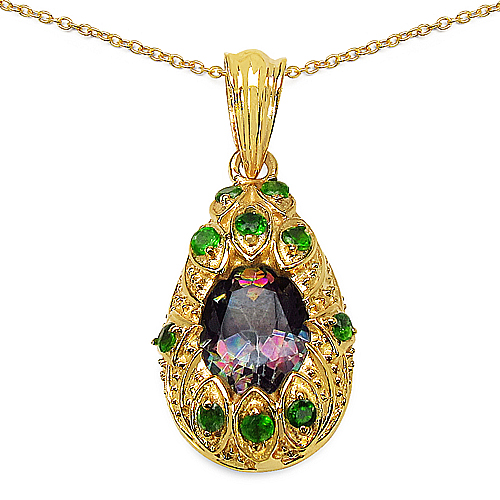 Mystic Topaz-14K Gold Plated 3.75 ct. t.w. Mydtic Topaz and Chrome-Diopside Pendant in Sterling Silver