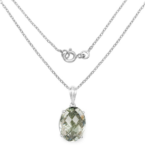7.90 Carat Genuine Green Amethyst .925 Sterling Silver Pendant