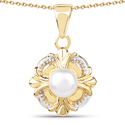 Pearl-14K Yellow Gold Plated 1.00 Carat Genuine Pearl .925 Sterling Silver Pendant