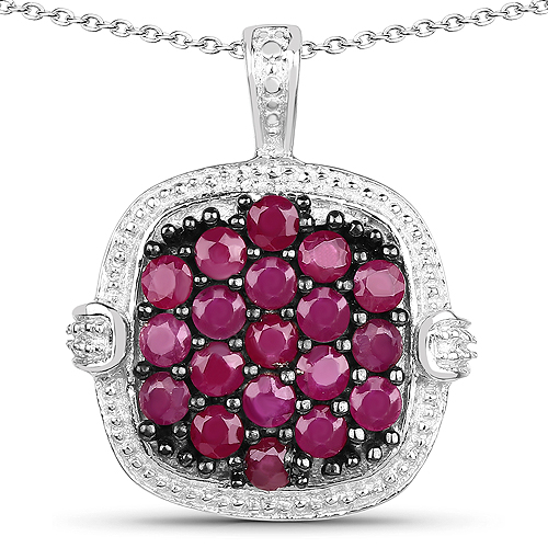 Ruby-1.43 Carat Genuine Ruby .925 Sterling Silver Pendant