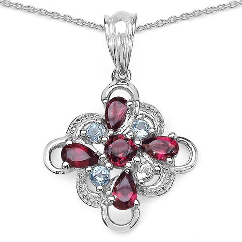 Pendants-1.70 ct. t.w. Blue Topaz and Rhodolite Pendant in Sterling Silver