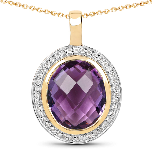 Amethyst-14K Yellow Gold Plated 5.59 Carat Genuine Amethyst & White Topaz .925 Sterling Silver Pendant