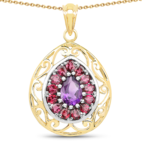Amethyst-14K Yellow Gold Plated 3.95 Carat Genuine Amethyst & Rhodolite .925 Sterling Silver Pendant