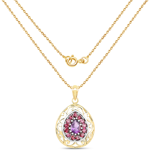 14K Yellow Gold Plated 3.95 Carat Genuine Amethyst & Rhodolite .925 Sterling Silver Pendant