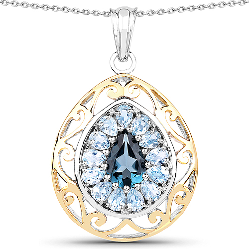 Pendants-14K Yellow Gold Plated 4.44 Carat Genuine London Blue Topaz and Blue Topaz .925 Sterling Silver Pendant