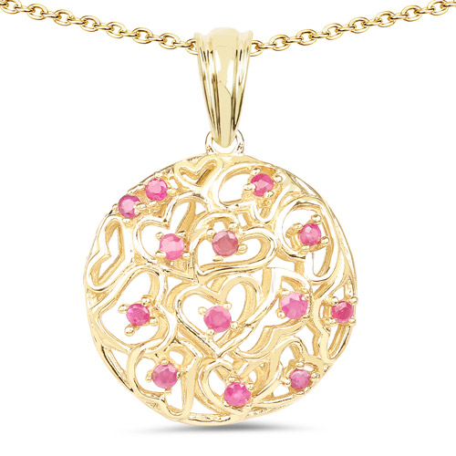 Ruby-14K Yellow Gold Plated 0.47 Carat Genuine Ruby .925 Sterling Silver Pendant