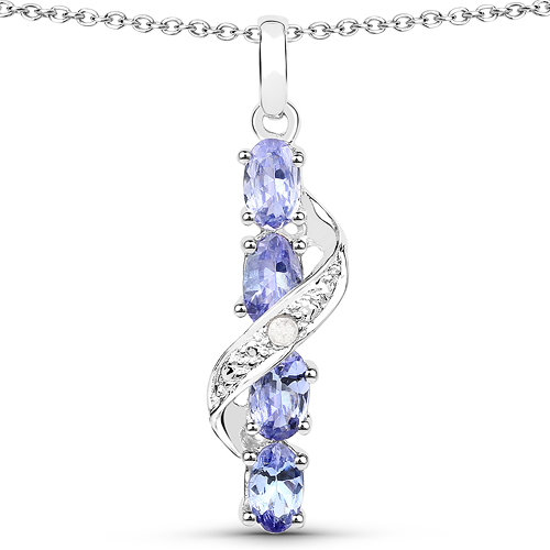 Tanzanite-1.02 Carat Genuine Tanzanite and White Diamond .925 Sterling Silver Pendant