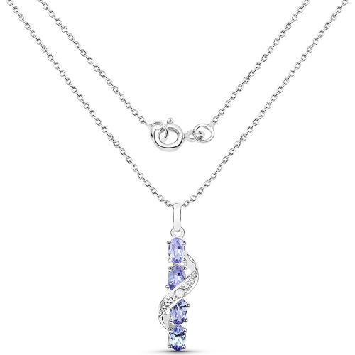 1.02 Carat Genuine Tanzanite and White Diamond .925 Sterling Silver Pendant
