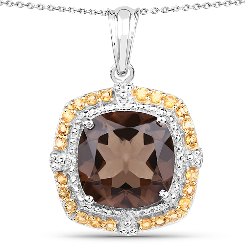 Pendants-10.98 Carat Genuine Smoky Quartz and Citrine .925 Sterling Silver Pendant