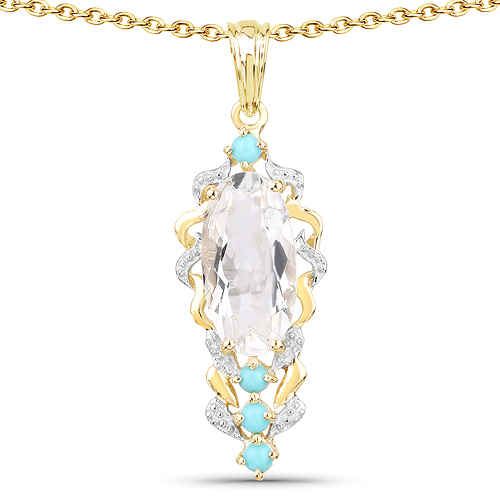 Pendants-14K Yellow Gold Plated 6.20 Carat Genuine Crystal Quartz & Turquoise .925 Sterling Silver Pendant